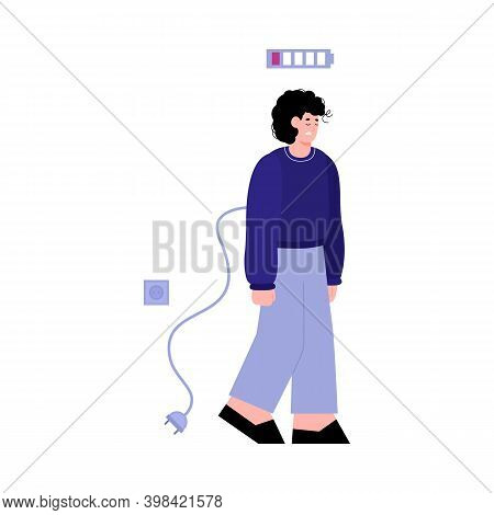 Vector Flat Isolated Illustration Of A Tired Unplug From Socket Sad Young Man. Guy With Indicator Sh