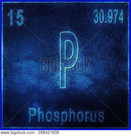 Phosphorus Chemical Element, Sign With Atomic Number And Atomic Weight, Periodic Table Element