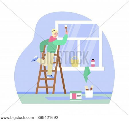 Craftsman Or Painter Cartoon Character Painting Window Frame, Flat Vector Illustration. Painting And