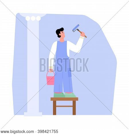 Man Painter Decorating Walls With Dye And Roller, Flat Cartoon Vector Illustration Isolated On White