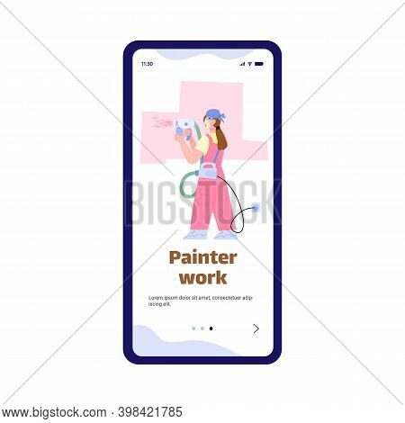 Mobile App Onboarding Page Design For Painter Work Services With Cartoon Character Of Painter, Flat