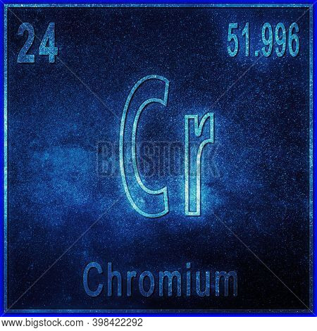 Chromium Chemical Element, Sign With Atomic Number And Atomic Weight, Periodic Table Element