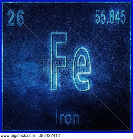Iron Chemical Element, Sign With Atomic Number And Atomic Weight, Periodic Table Element