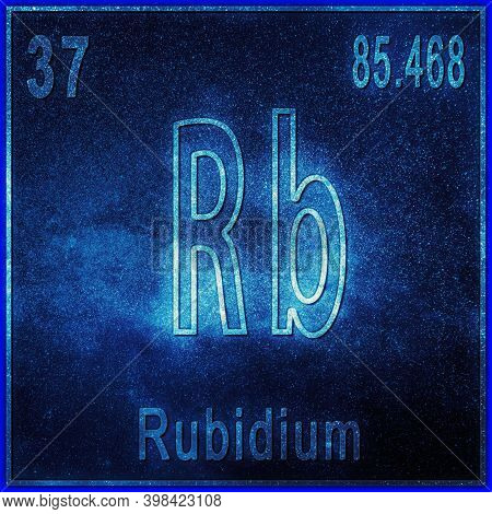 Rubidium Chemical Element, Sign With Atomic Number And Atomic Weight, Periodic Table Element