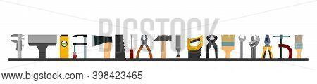 Construction Tools. Logo, Label. Bottom Frame. For Work As A Painter, Carpenter, Builder, Handyman.