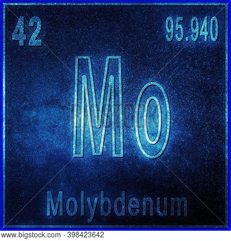 Molybdenum Chemical Element, Sign With Atomic Number And Atomic Weight, Periodic Table Element