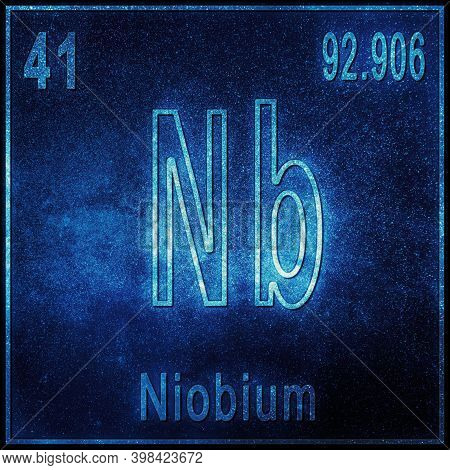 Niobium Chemical Element, Sign With Atomic Number And Atomic Weight, Periodic Table Element