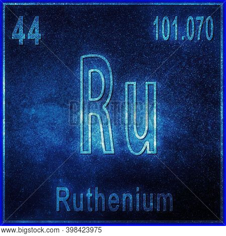 Ruthenium Chemical Element, Sign With Atomic Number And Atomic Weight, Periodic Table Element