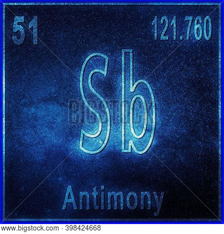 Antimony Chemical Element, Sign With Atomic Number And Atomic Weight, Periodic Table Element