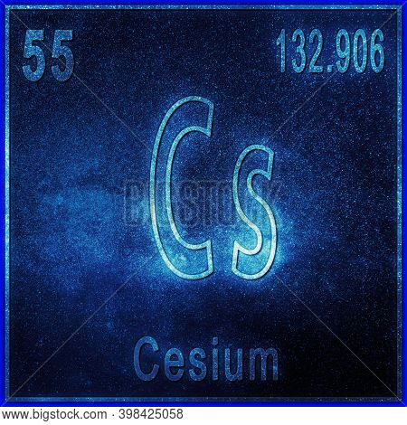 Cesium Chemical Element, Sign With Atomic Number And Atomic Weight, Periodic Table Element
