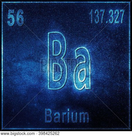 Barium Chemical Element, Sign With Atomic Number And Atomic Weight, Periodic Table Element