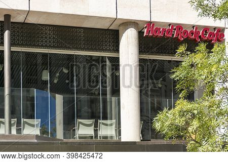 Valencia Spain. September 27, 2020: Letters On The Windows Of The Hard Rock Cafe Restaurant Above Th