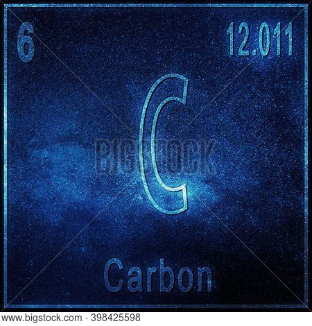Carbon Chemical Element, Sign With Atomic Number And Atomic Weight, Periodic Table Element