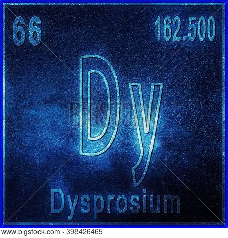 Dysprosium Chemical Element, Sign With Atomic Number And Atomic Weight, Periodic Table Element