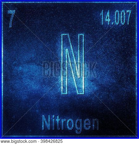 Nitrogen Chemical Element, Sign With Atomic Number And Atomic Weight, Periodic Table Element