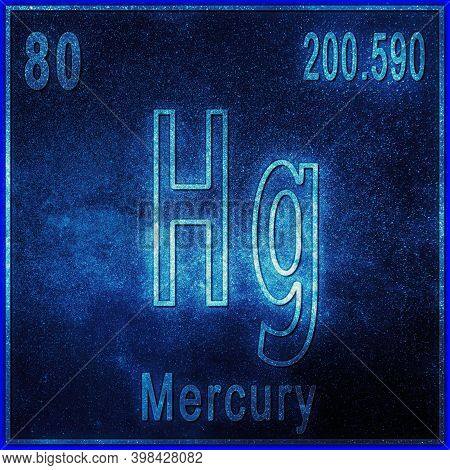 Mercury Chemical Element, Sign With Atomic Number And Atomic Weight, Periodic Table Element