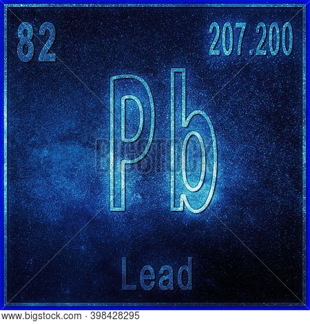 Lead Chemical Element, Sign With Atomic Number And Atomic Weight, Periodic Table Element