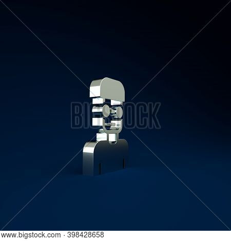 Silver Nerd Geek Icon Isolated On Blue Background. Minimalism Concept. 3d Illustration 3d Render