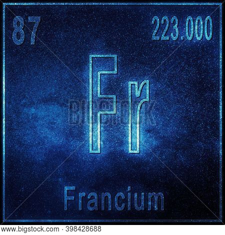 Francium Chemical Element, Sign With Atomic Number And Atomic Weight, Periodic Table Element