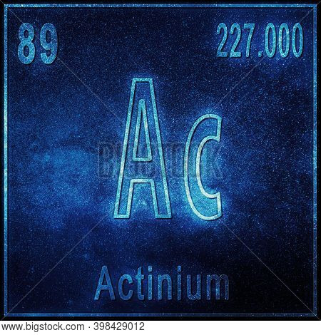 Actinium Chemical Element, Sign With Atomic Number And Atomic Weight, Periodic Table Element