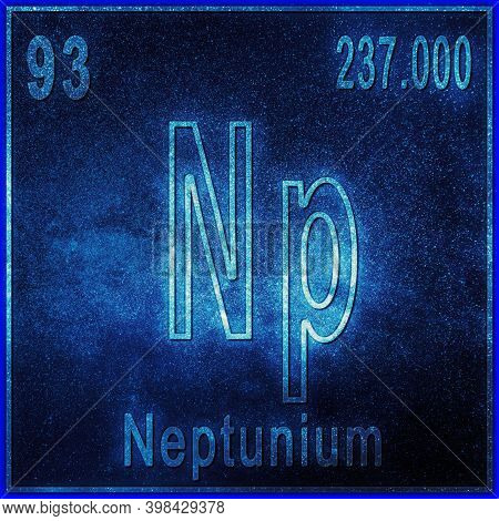 Neptunium Chemical Element, Sign With Atomic Number And Atomic Weight, Periodic Table Element
