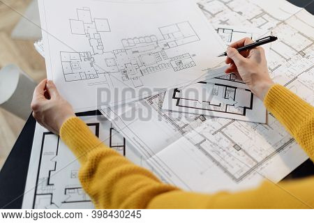 Education Concept. High Angle View Of Student Woman Working At Home Office, Study In Architectural U