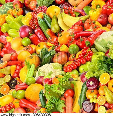 Large fruit colorful square background of fresh and healthy vegetables and fruits.