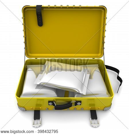 Suitcase With Packets Of Drugs. Lots Of Sealed Packages From A Polymeric Film With Drugs In Yellow O