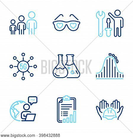 Business Icons Set. Included Icon As Business Hierarchy, Repairman, Love Glasses Signs. Chemistry La
