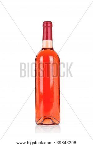 Bottle of rose wine isolated on white