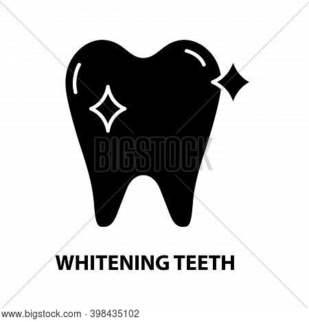 Whitening Teeth Icon, Black Vector Sign With Editable Strokes, Concept Illustration