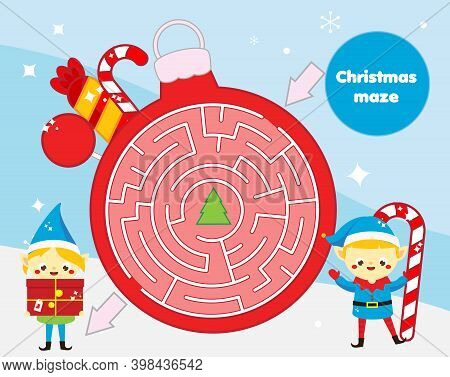 Christmas Maze Game For Children. New Year Labyrinth Theme Kids Activity Sheet With Funny Elf