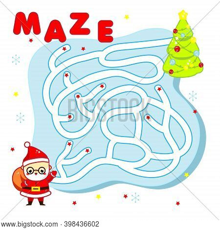 Christmas Maze Game For Children. New Year Labyrinth Theme Kids Activity Sheet With Santa Claus