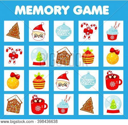 Christmas Memory Game For Toddlers. Educational Children Game. New Year Holidays Theme