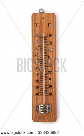 Wooden Outside Thermometer Isolated On White Background.