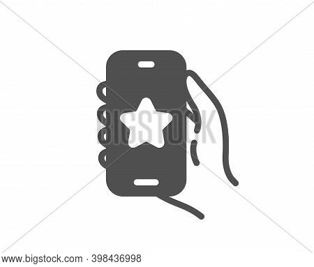 Favorite App Icon. Hand Hold Phone Sign. Cellphone With Screen Notification Symbol. Quality Design E
