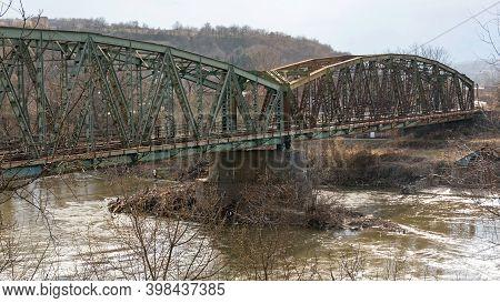 Railway Bridge Over South Morava River In Stalac Serbia