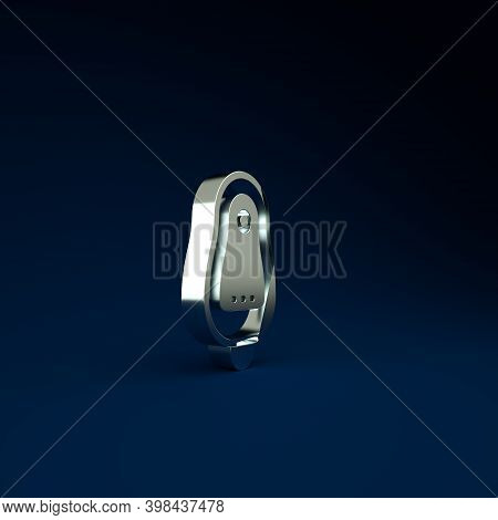 Silver Toilet Urinal Or Pissoir Icon Isolated On Blue Background. Urinal In Male Toilet. Washroom, L