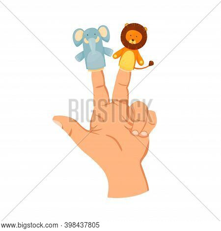 Hand Or Finger Puppets Play Doll. On Two Fingers Elephant And Lion. Toy For Children Theater, Kids G