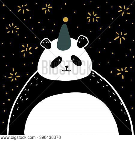 Christmas New Year Card. Panda In A Festive Hat Against The Background Of Fireworks. Vector Isolated