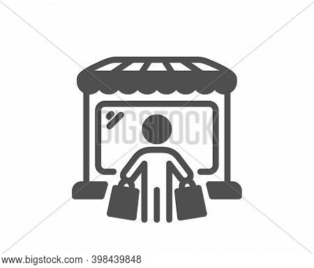Market Buyer Icon. Wholesale Store Customer Sign. Retail Marketplace Client Symbol. Quality Design E