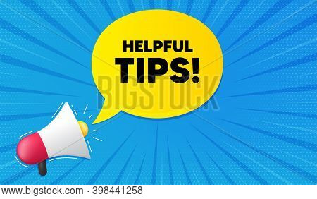 Helpful Tips Symbol. Background With Megaphone. Education Faq Sign. Help Assistance. Megaphone Banne