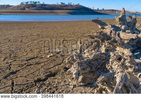 Simferopol Reservoir, Simferopol, Crimea - December 2020: Drying Bottom Of The Simferopol Reservoir