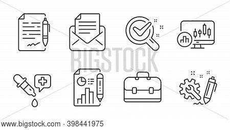 Report Document, Agreement Document And Mail Correspondence Line Icons Set. Portfolio, Chemistry Lab