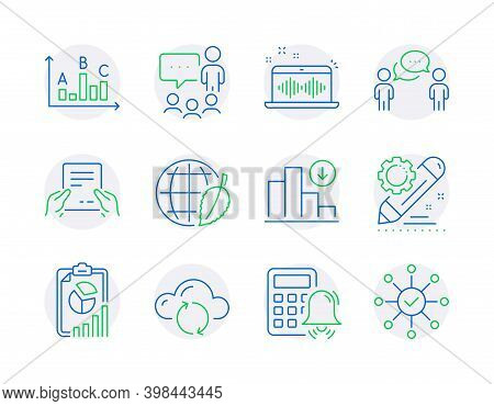 Education Icons Set. Included Icon As Music Making, Decreasing Graph, Report Signs. Environment Day,
