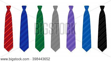 Noble Neckties Set - Seven Striped Ties - Red, Navy, Green, Gray, Purple, Blue And Black - For Every