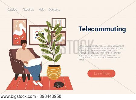 Freelance Male Character Sitting In Armchair With Cat Sleeping Nearby And Telecommuting. Concept Of