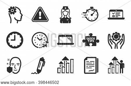 24 Hours, Web Lectures And Signature Icons Simple Set. Analysis Graph, Employee Hand And Quick Tips