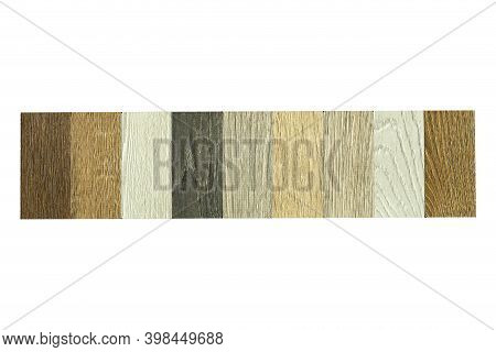 Samples Of Wood Of Different Colors And Species For Laminate And Parquet Flooring. Multi-colored Woo