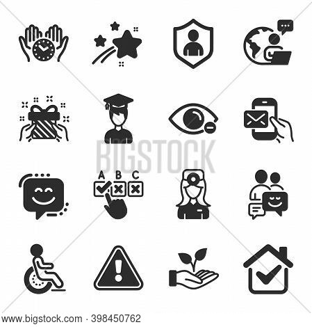 Set Of People Icons, Such As Disability, Safe Time, Communication Symbols. Security, Myopia, Student